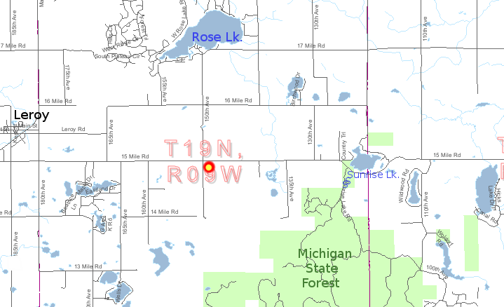 Vicinity to Leroy, Michigan State Forest, Rose Lake and Sunrise Lake